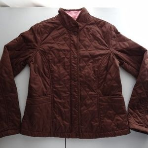 Lilly Pulitzer 6 Brown Quilted Coat Jacket Snap